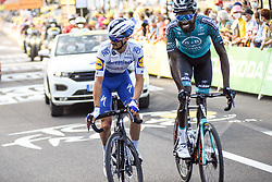 Julian ALAPHILIPPE (FRA) and Kevin REZA (FRA) pictured at the end of stage 19 of Tour de France cycling race, over 166,5 kilometers (103.4 miles) with start in Bourg-en-Bresse and finish in Champagnole, France,Friday, September 18, 2020.//JEEPVIDON_1615006/2009191625/Credit:jeep.vidon/SIPA/2009191634 / Sportida
