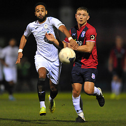 TELFORD COPYRIGHT MIKE SHERIDAN Brendon Daniels of Telford battles for the ball with Kallum Griffiths during the Vanarama Conference North fixture between AFC Telford United and York City at Bootham Crescent on Saturday, January 11, 2020.<br /> <br /> Picture credit: Mike Sheridan/Ultrapress<br /> <br /> MS201920-040