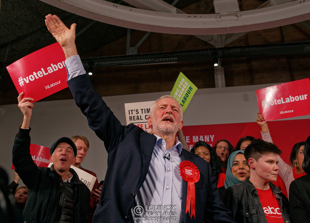 London, United Kingdom - 11 December 2019<br /> Labour Party leader Jeremy Corbyn speaking at their final campaign rally before the General Election 2019 at Hoxton Docks, London, England, UK.<br /> (photo by: EQUINOXFEATURES.COM)<br /> Picture Data:<br /> Photographer: Equinox Features<br /> Copyright: ©2019 Equinox Licensing Ltd. +443700 780000<br /> Contact: Equinox Features<br /> Date Taken: 20191211<br /> Time Taken: 21580106<br /> www.newspics.com