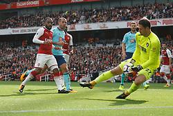 09 September 2017 London : Premier League Football : Arsenal v Bournemouth : Alexandre Lacazette of Arsenal waits for any mistake by Bournemouth goalkeeper Asmir Begovic.<br /> <br /> Photo: Mark Leech