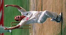 South African bowler Shaun Pollock celebrates the wicket of England's Graeme Hick.