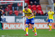 Leeds United midfielder Jack Harrison (22), on loan from Manchester City,  feels a knock during the EFL Sky Bet Championship match between Rotherham United and Leeds United at the AESSEAL New York Stadium, Rotherham, England on 26 January 2019.