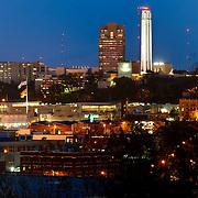 Kansas City, Missouri and Liberty Memorial at dusk.