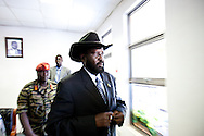 President of the Government of South Sudan Salva Kiir speaks to press on the last day of campaigning in Sudan elections on April 9, 2010 The elections are supposed to bring to an end the transitional period after the Peace aggreement in 2005, but have been marred by boycotts and allegations of fraud before begining.