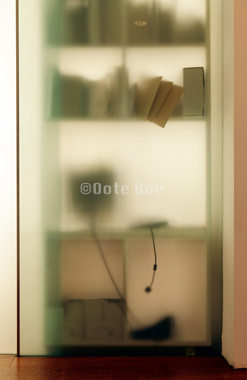 office room with semi tranparent glass wall