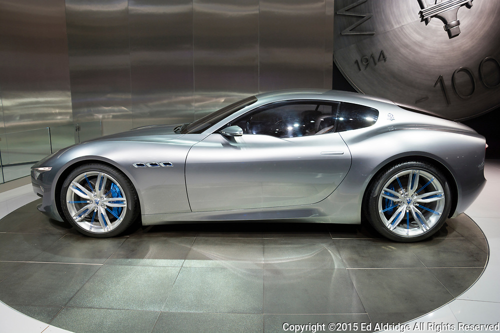 DETROIT, MI, USA - JANUARY 12, 2015: Maserati Alfieri concept on display during the 2015 Detroit International Auto Show at the COBO Center in downtown Detroit.