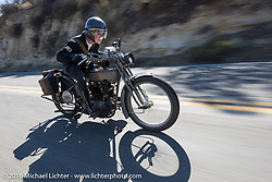 Paul Jung of Germany riding the 1915 Harley-Davidson entry from W and W Cycles of Wurzburg on the last day of the Motorcycle Cannonball Race of the Century. Stage-15 ride from Palm Desert, CA to Carlsbad, CA. USA. Sunday September 25, 2016. Photography ©2016 Michael Lichter.