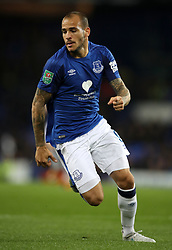 """Everton's Sandro Ramirez during the Carabao Cup, Third Round match at Goodison Park, Liverpool. PRESS ASSOCIATION Photo. Picture date: Wednesday September 20, 2017. See PA story SOCCER Everton. Photo credit should read: Nick Potts/PA Wire. RESTRICTIONS: EDITORIAL USE ONLY No use with unauthorised audio, video, data, fixture lists, club/league logos or """"live"""" services. Online in-match use limited to 75 images, no video emulation. No use in betting, games or single club/league/player publications"""