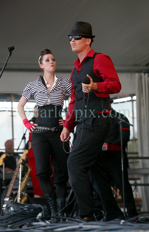 28 April 2012. New Orleans, Louisiana,  USA. .New Orleans Jazz and Heritage Festival. .The New Orleans Bingo show. Lead singer Clint Maedgen..Photo; Charlie Varley.