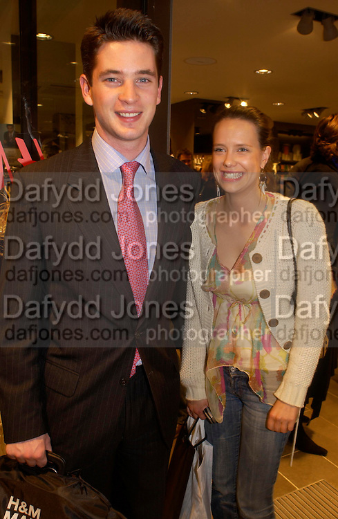 hon James Tollemache and Arabella Musgrave. H&M Flagship Store launch. at 17-21 Brompton Road, Knightsbridge. London. SW1. 23  March 2005. ONE TIME USE ONLY - DO NOT ARCHIVE  © Copyright Photograph by Dafydd Jones 66 Stockwell Park Rd. London SW9 0DA Tel 020 7733 0108 www.dafjones.com