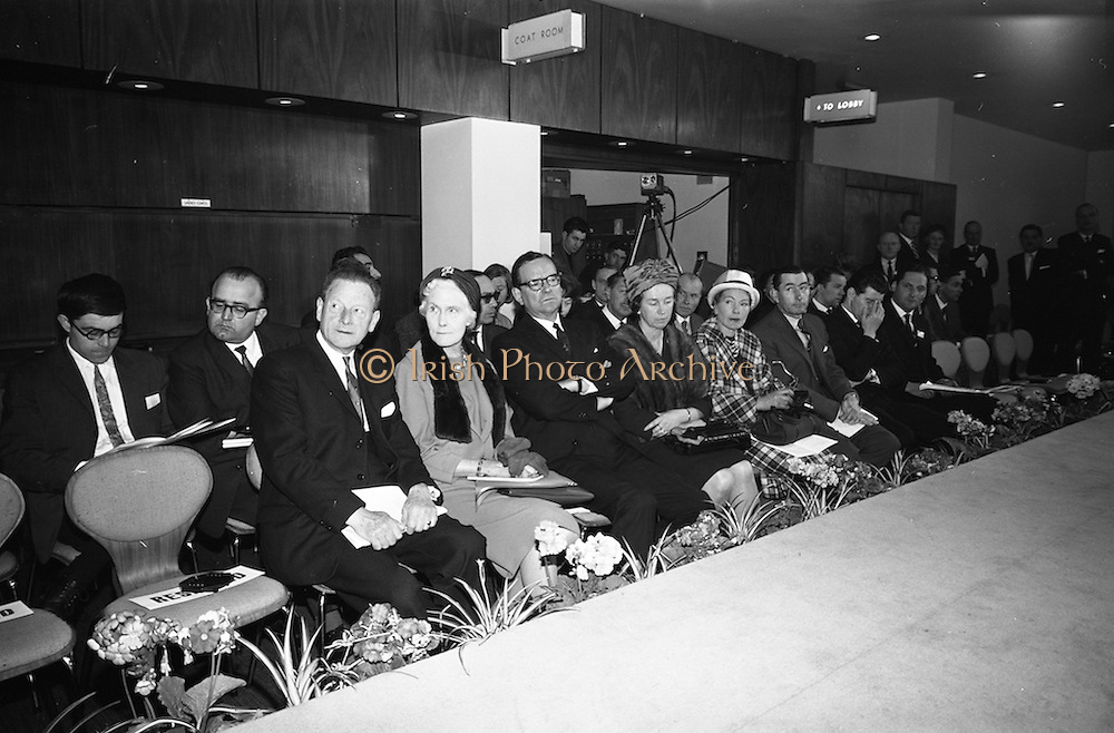 05/04/1965<br /> 04/05/1965<br /> 05 April 1965<br /> Second Irish Export Fashion Fair opened at the Intercontinental Hotel, Dublin. In the photo are Mr John Haughey, (Front left) Cahirman of Coras Trachtala and Mr Sydney Gibson, (third left at front)  President of the Federation of Irish Industries.