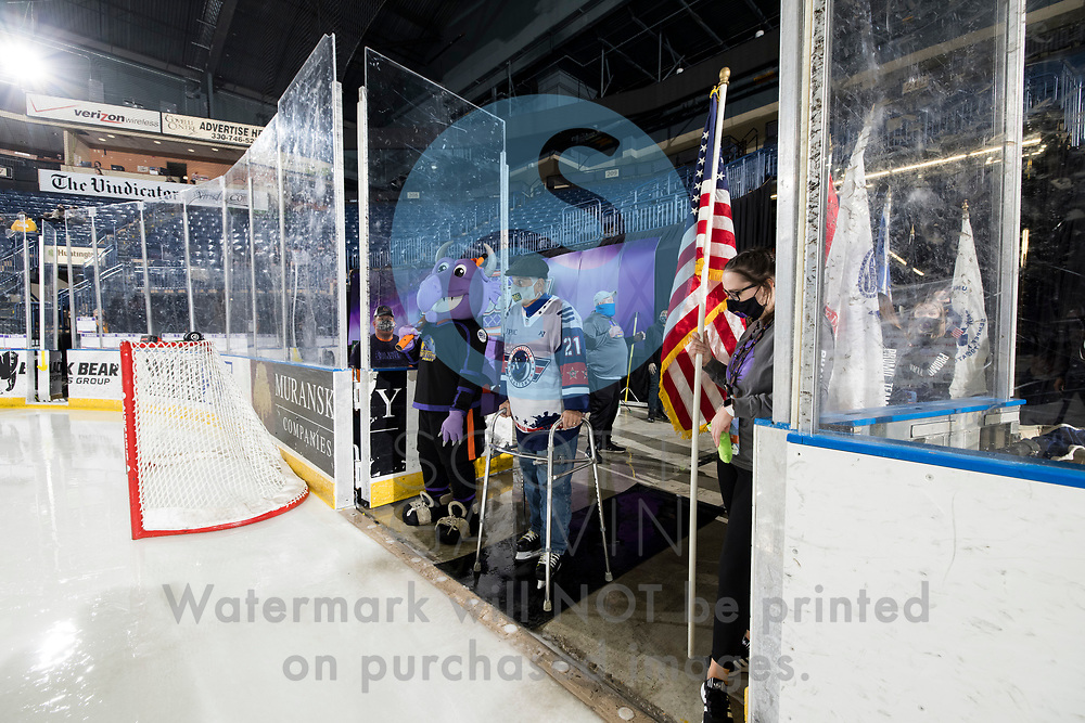 The Youngstown Phantoms lose 5-4 in overtime to the Chicago Steel at the Covelli Centre on February 20, 2021.<br /> <br /> Sparky, mascot