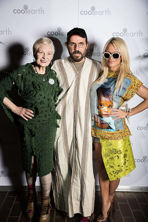Dame Vivienne Westwood, Andreas Kronthaler & Pamela Anderson attend Cool Earth event at the Barbican attended by Dame Vivienne Westwood, Andreas Kronthaler, Pamela Anderson & Marky Ramone on 24 September 2015.<br /> Photos Ki Price