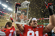 Nick Vannett #81 of the Ohio State Buckeyes celebrates after defeating the Oregon Ducks during the College Football Playoff National Championship Game at AT&T Stadium on January 12, 2015 in Arlington, Texas.  (Cooper Neill for The New York Times)