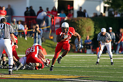 18 October 2008: Walter Mendenhall breaks into the open at mid-field in a game which the Missouri State Bears came from behind to beat the Illinois State Redbirds 34-28 in front of 13,292 fans at Hancock Stadium on Illinois State Universities campus in Normal Illinois