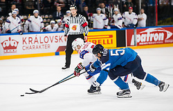 Mats Rosseli Olsen of Norway vs Valtteri Filppula of Finland during the 2017 IIHF Men's World Championship group B Ice hockey match between National Teams of Norway and Finland, on May 13, 2017 in AccorHotels Arena in Paris, France. Photo by Vid Ponikvar / Sportida