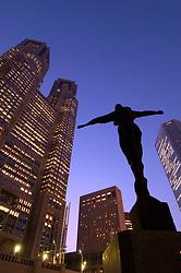 Sculpture at dusk beside City Hall in Shinjuku Tokyo