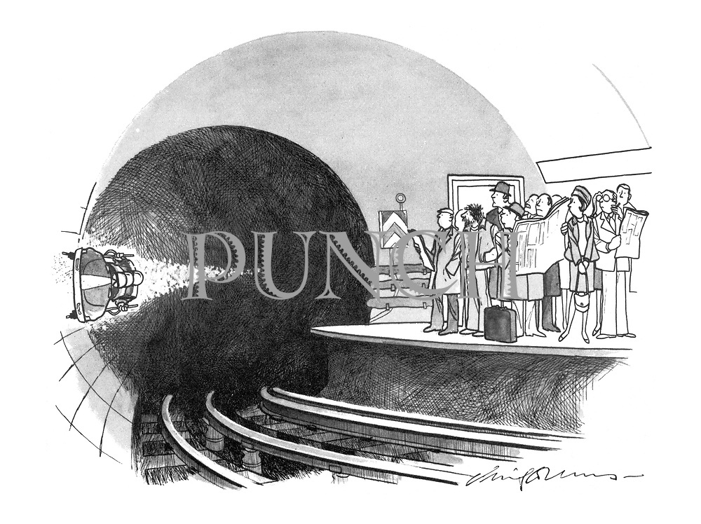 (Passengers waiting on the platform for an underground train see bobsleigh team whizzing by on the side of the tunnel)