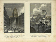 St. Paul's Church from Fleet Street (left) and Westminster Abbey and St. Margaret's Church from Westminster bridge (right) Architecture in the City of London Copperplate engraving From the Encyclopaedia Londinensis or, Universal dictionary of arts, sciences, and literature; Volume XIII;  Edited by Wilkes, John. Published in London in 1815