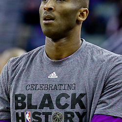 Feb 4, 2016; New Orleans, LA, USA; Los Angeles Lakers forward Kobe Bryant (24) before a game against the New Orleans Pelicans at the Smoothie King Center. The Lakers defeated the Pelicans 99-96. Mandatory Credit: Derick E. Hingle-USA TODAY Sports