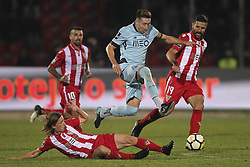 November 25, 2017 - Aves, Guimaraes, Portugal - Avess Player midfielder Gauls (L) with Porto's Mexican midfielder Hector Herrera jump and Avess Portuguese midfielder Braga (R) during the Premier League 2017/18 match between CD Aves vs FC Porto at the Aves stadium in Vila das Aves on November 25, 2017. (Credit Image: © Dpi/NurPhoto via ZUMA Press)