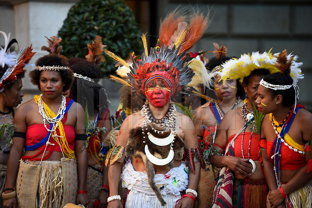 """© Licensed to London News Pictures. 24/09/2018. LONDON, UK. Members from Fiji and Ngati Ranana, the London Maori Club, take part in a ceremonial procession and blessing ceremony for the forthcoming """"Oceania"""" exhibition at the Royal Academy of Arts.  The exhibition runs 29 September – 10 December 2018, representing the art of Melanesia, Micronesia and Polynesia, encompassing the vast Pacific region from New Guinea to Easter Island, Hawaii to New Zealand.  Photo credit: Stephen Chung/LNP"""