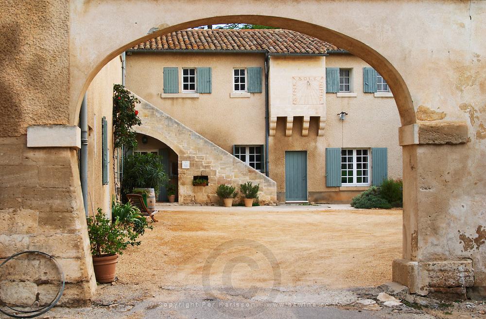 The entrance portico to the main building. Chateau Mourgues du Gres Grès, Costieres de Nimes, Bouches du Rhone, Provence, France, Europe