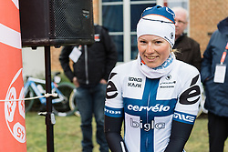 Lotta Lepistö makes her way to the podium after securing third place in the bunch sprint - 2016 Omloop van het Hageland - Tielt-Winge, a 129km road race starting and finishing in Tielt-Winge, on February 28, 2016 in Vlaams-Brabant, Belgium.