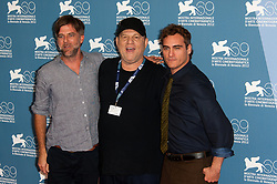 Director Paul Thomas Anderson, producer Harvey Weinstein and Joaquin Phoenix attending 'The Master' Photocall during the 69th Venice Film Festival held at the Palazzo del Casino in Venice, Italy on September 1, 2012. Photo by Nicolas Genin/ABACAPRESS.COM    332852_031 Venise Venice Italie Italy
