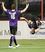 Bruno Guarda (88) of the Dallas Sidekicks does a flip after scoring a goal against the Rockford Rampage at the Allen Event Center on Saturday, February 9, 2013 in Little Elm, Texas. (Cooper Neill/The Dallas Morning News)