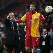 Galatasaray's coach Fatih Terim (L) during their Turkish Super League soccer match Galatasaray between Kayserispor at the TT Arena at Seyrantepe in Istanbul Turkey on Saturday, 11 February 2012. Photo by TURKPIX