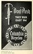 4th Prize H. S. Haines, Boston, Mass Exhibition of Columbia bicycle art poster designs by Pope Manufacturing Company, Boston in 1896. These posters were entered into a competition held by the bicycle manufacturer to find new ideas for adverts. First prize was 1 bicycle and 250$ in Cash. Second place was 1 bicycle and 50$ in Cash and 3rd place was 1 bicycle and 50$ in cash