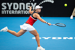 January 11, 2019 - Sydney, NSW, U.S. - SYDNEY, AUSTRALIA - JANUARY 11: Ashleigh Barty (AUS) hits a backhand in her game against Kiki Bertens (NED) at The Sydney International Tennis on January 11, 2018, at Sydney Olympic Park Tennis Centre in Homebush, Australia. (Photo by Speed Media/Icon Sportswire) (Credit Image: © Steven Markham/Icon SMI via ZUMA Press)
