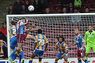 Murray Wallace of Scunthorpe United heads ball over bar during the Sky Bet League 1 match between Scunthorpe United and Shrewsbury Town at Glanford Park, Scunthorpe, England on 17 October 2015. Photo by Ian Lyall.