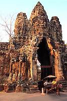 Angkor Thom Victory Gate - Angkor Thom was the last and most enduring capital city of the Khmer empire established in the 12th century by King Jayavarman VII. It covers an area of 9 square kilometers.