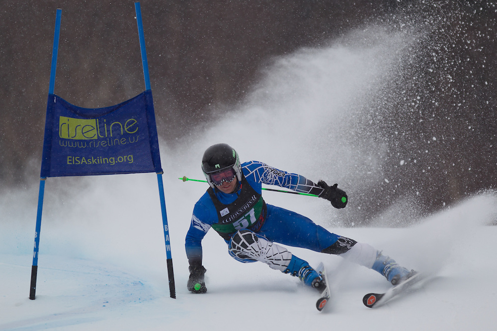 Michael Boardman, of Colby College, skis during the first run of the men's giant slalom of the University of Vermont Carnival on January 10, 2014 in Stowe, VT. (Dustin Satloff/EISA)