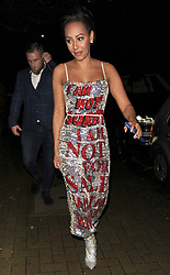 """Melanie Brown aka Mel B, is seen arriving at a private address, wearing a statement silver and red sequin dress, with the words """"I Am Not Sorry, I Am Not For Sale, I Am Not For Reproduction"""" which she told snappers she had designed herself. The Spice Girl looked far from scary, as she smiled at the photographers.<br /><br />27 November 2018.<br /><br />Please byline: Will/Vantagenews.com"""