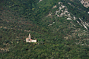 Church ruin that sits on a mountainside above the town of Prcanj, Montenegro