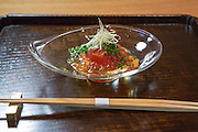 Simmered tomato (tomato gelée, ginger and chive) at Kajitsu, 125 E. 39th St., New York.
