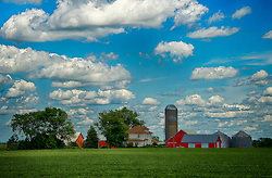 A sunny and warm summer day at an Iowa Farm highlighting the rural beauty and the calm of a country life.