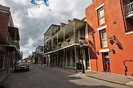 Emty steet in New Orleans French Quarter on March 27, 2020  during a mandatory stay at home order due to the COVID-19 Pandemic.