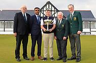 Michael Heeney (Chairman Connacht Golf), Indraneel Talakanti (Radisson Blu Hotel & Spa), Caolan Rafferty (Dundalk), John Ferriter (President elect GUI) and Dr. Kevin Flanagan (Captain Co. Sligo Golf Club) at The West of Ireland Open Championship in Co. Sligo Golf Club, Rosses Point, Sligo on Sunday 7th April 2019.<br /> Picture:  Thos Caffrey / www.golffile.ie