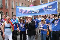 Senator David Norris with the Pride in Action group at the Dublin Pride 2012 LGBTQ festival parade  Dublin City Ireland. Saturday 30th June 2012.