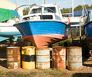Boats in boatyard, Burnham on Crouch, Essex, England