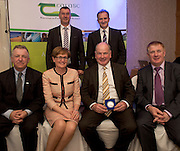 Colm Concannon, JFC and David Small, DARDNI, and seated Prof Gerry Boyle, Director Teagasc , <br /> MEP Mairead McGuinness, Neilus Murphy, Gazemate and  John Concannon JFC at the JFC Innovation awards sponsored by Teagasc, DARD Northern Ireland and the Irish Farmers Journal at the Claregalway Hotel. Photo:Andrew Downes