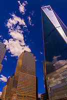 World Financial Center (Brookfield Place) on left and One World Trade Center on right, New York, New York USA.