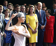 April 16, 2014 - Sydney, AUSTRALIA - <br /> <br /> Prince William and Kate, Duchess of Cambridge<br /> <br /> Britain's Prince William, second from right at front, and his wife Kate, the Duchess of Cambridge, center, watch an Aboriginal welcome performance during a reception at the Sydney Opera House Wednesday, April 16, 2014. The royal couple, along with their son Prince George, are on a 10-day official visit. <br /> ©Exclusivepix