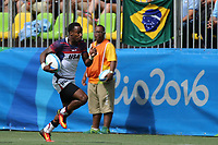 August 11, 2016; Rio de Janeiro, Brazil; USA Men's Eagles Sevens Carlin Isles runs in for a try against Spain during the Men's Rugby Sevens 9th Place Final match on Day 4 of the Rio 2016 Olympic Games at Deodoro Stadium. Photo credit: Abel Barrientes - KLC fotos