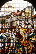 A depiction of a local event during the English Civil War depicting local historical figures appearing in stained glass windows part of an auction held by Bonhams of the contents of Stokesay Castle, the oldest fortified estate house in Britain originating in the late 13th century. During King Charles I reign it came into the ownership of the Craven family and was used as a supply base for the King's forces in the area, based in strength at nearby Ludlow Castle in the early stages of the English Civil War. .A skirmish took place at the castle during the English Civil War, in which Stokesay was handed over to the Parliamentarians after a short siege without a pitched battle. It is at present in the hands of English Heritage.
