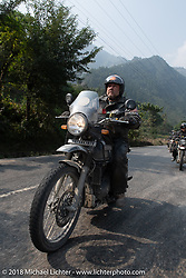 Kelly Modlin on day-9 of our Himalayan Heroes adventure riding from Pokhara to Nuwakot, Nepal. Wednesday, November 14, 2018. Photography ©2018 Michael Lichter.